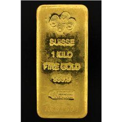 BULLION: PAMP Suisse 1 Kilo fine gold bar; 999.9 Au; Essayeur Fondeur; Serial A061697; 998.6 grams.