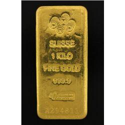 BULLION: PAMP Suisse 1 Kilo fine gold bar; 999.9 Au; Essayeur Fondeur; Serial A294811; 998.5 grams.