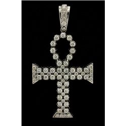 PENDANT: Mens 14kw diamond ankh pendant; 67 rb dias, 2.8mm to 4.0mm = est 10.34cttw, V.Good/H-L(fewl