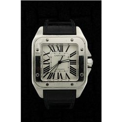 WATCH: Mens st.steel Cartier Santos 100 wristwatch; silver/white dial w/ black Romans; black crocodi