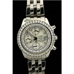 WATCH: Ladys (mid-size) st.steel Breitling Chrono Cockpit wristwatch w/ aftmkt diamond bezel; 39.3mm