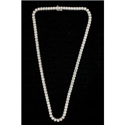 NECKLACE: Ladys 14kw ''C'' set diamond link necklace; 108 rb dias, 3.9mm to 4.3mm = est 25.26cttw, V