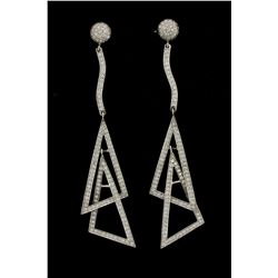 EARRINGS: Pair ladys 14kw diamond dangle earrings; interlocking open triangles, linked; 266 rb dias,