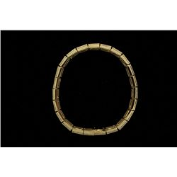BRACELET: Ladys 14ky ''rainbow'' sapphire & diamond link bracelet; 69 sq princess cut fancy saphs, 2