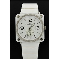 WATCH: Ladys white ceramic & st.steel Bell & Ross diamond wristwatch; 39.0mm square case; bezel w/ 8