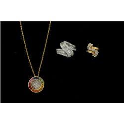 PENDANT: Ladys 14ky ''rainbow'' sapphire & diamond circle pendant; 20 trapezoid princess cut fancy s