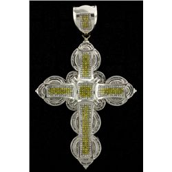 PENDANT: Mens 14kw ''invisible'' set treated yellow & white diamond cross pendant; 225 sq prin yello