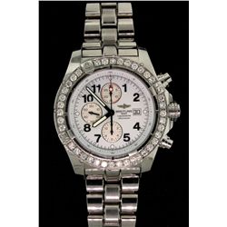 WATCH: Mens st.steel Breitling ''Super Avenger'' chronograph wristwatch w/ aftmkt set diamond bezel;