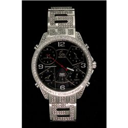 WATCH: Mens st.steel Jacob & Co five time zone wristwatch w/ aftmkt diamond apptmnts; 47mm round cas