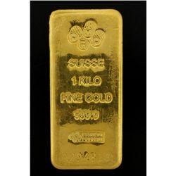 BULLION: PAMP Suisse 1 Kilo fine gold bar; 999.9 Au; Essayeur Fondeur; Serial A294813; 998.5 grams.