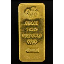 BULLION: PAMP Suisse 1 Kilo fine gold bar; 999.9 Au; Essayeur Fondeur; Serial A294814; 998.5 grams.