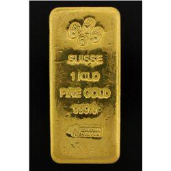 BULLION: PAMP Suisse 1 Kilo fine gold bar; 999.9 Au; Essayeur Fondeur; Serial A294815; 998.4 grams.