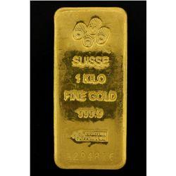 BULLION: PAMP Suisse 1 Kilo fine gold bar; 999.9 Au; Essayeur Fondeur; Serial A294816; 998.5 grams.