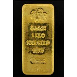 BULLION: PAMP Suisse 1 Kilo fine gold bar; 999.9 Au; Essayeur Fondeur; Serial A308973; 998.5 grams.