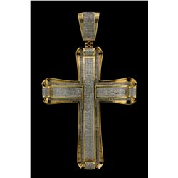 PENDANT: Mens 10ky diamond cross pendant; 801 rd dias, 0.7mm = est 2.40cttw, Fair/I-K/SI; 3.8'' tall