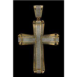 PENDANT: Mens 10ky diamond cross pendant; 801 rd dias, 0.7mm = est 2.40cttw, Fair/I-K/SI; 3.8'' tall