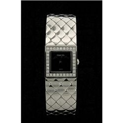WATCH:  [1] Stainless steel ladies Chanel Metalasse quartz watch with a black dial and the bezel is