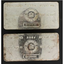 SILVER BAR:  [1] 100 troy oz. Royal Canadian Mint .999 silver bar SILVER BAR:  [1] 100 troy oz. Roya