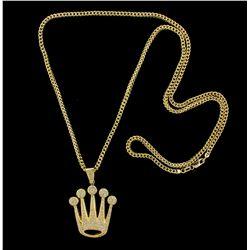 PENDANT: Mens 10ky crown logo motif diamond pendant; 118 rd dias, 1.4mm to 1.5mm = est 1.77cttw, Fai