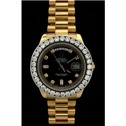 ROLEX: Mens 18ky Rolex O.P. Day Date II wristwatch w/ aftmkt diamond apptmnts; 41.5mm case; 18kw bez