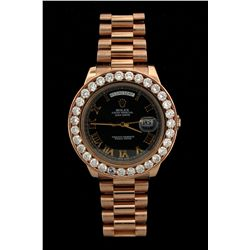 ROLEX: Mens 18kr Rolex O.P. Day Date II wristwatch w/ aftmkt clarity enhanced diamond bezel; 41mm ca