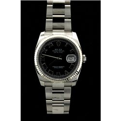 ROLEX: Mens st.steel Rolex O.P. Datejust wristwatch; 37.4mm case; black dial w/ Roman markers; 18kw