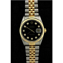 ROLEX: Mens st.steel & 18ky Rolex O.P. Datejust wristwatch; 36.1mm case; black dial w/ diamond marke