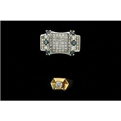 RING:  [1] 14KYG ring set with 1 rd dia., 5.0 x approx. 2.9mms = 0.44 cts., K/L, I1; size 8 1/2; 6.8