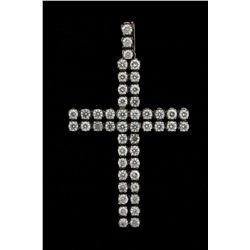 PENDANT: Mens 10kw diamond cross pendant; 40 rb dias, 3.5mm to 3.7mm = est 7.20cttw, Good/I-L/I1-I2;