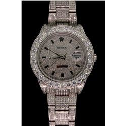 ROLEX: Mens st.steel Rolex O.P. DateJust wristwatch w/ aftmkt diamond apptmnts; dial pave set w/ 428
