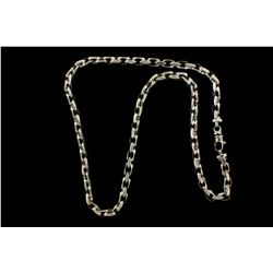 CHAIN: Mens 14kw modified cable link chain necklace; 6.67mm wide x 6.94mm thick x 25.0'' long; lobst