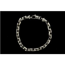 CHAIN: Mens 14kw modified cable link chain bracelet (necklace extension); 6.67mm wide x 6.94mm thick