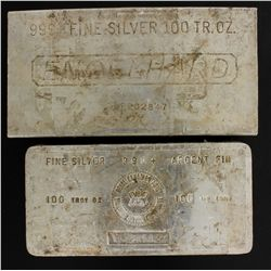 BULLION:  [1]  Engelhard Silver bar, 100 troy oz, .999BULLION:  [1]  Royal Canadian Mint Silver bar,