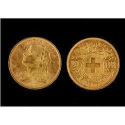 "COINS:  [24]  Swiss gold 20 Franc Helvetia ""Vreneli"" coins;  154.6 total grams"