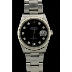 ROLEX: Mens st.steel Rolex O.P. DateJust wristwatch; 35.5mm case; black dial w/ 10 rd diamonds, 1.5m