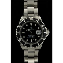 ROLEX: Mens st.steel Rolex O.P. Submariner Date wristwatch; black dial w. lumin markers, uni-directi