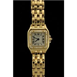 WATCH: Ladys 18ky Cartier Santos Panthere diamond wristwatch; 21.65mm square case; factory diamond b