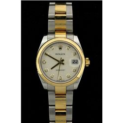 ROLEX: Mid-size st.steel & 18ky Rolex O.P. Datejust diamond wristwatch; 31.4mm case; domed polished