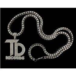 PENDANT: Mens 14kw ''TD Records'' logo diamond pendant; ''invisible'' set w/ 257 sq prin dias, 1.8mm