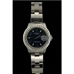 ROLEX: Ladys st.steel Rolex O.P. Date wristwatch w/ aftmkt diamond bezel; 26.25mm case; bezel channe