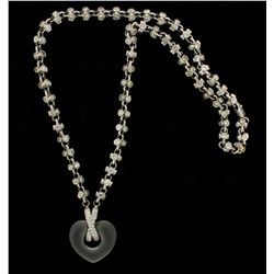 NECKLACE: Ladys 18kw & 14kw diamond necklace w/ open heart frosted rock crystal; 44 rb dias, 1.0mm-1