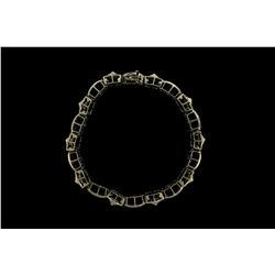 BRACELET: Mens 14ky ''invisible'' set diamond link bracelet; 504 sq prin dias, 0.9mm - 1.0mm = est 4