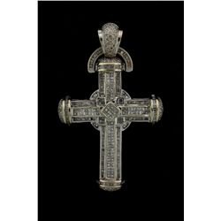 PENDANT: Mens 14kw ''invisible'' set diamond cross pendant; 126 sq prin dias, 1.3mm - 1.5mm = est 2.