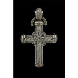 PENDANT: Mens 14kw ''invisible'' set diamond cross pendant; 126 sq prin dias, 1.3mm - 1.5mm = est 2.