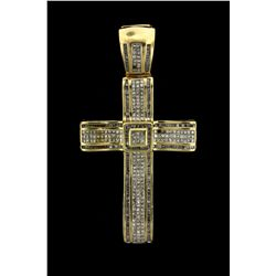 PENDANT: Mens 14ky ''invisible'' set diamond cross pendant; 197 sq prin dias, 1.2mm = est 2.00cttw,