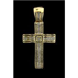 PENDANT: Mens 14ky ''invisible'' set diamond cross pendant; 197 sq prin dias, 1.2mm = est 2.00cttw,