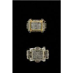 RING: Mens 14kw ''invisible'' set diamond ring; 58 sq prin dias, 1.4mm - 1.6mm = est 1.16cttw, Fair/