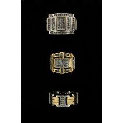 RING: Mens 14kw diamond wedding band; 25 rb dias, 1.5mm = est 0.37cttw, Good/I-L/SI2-I1; Size 10; 14
