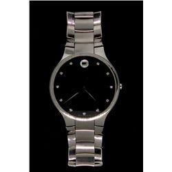 WATCH: Mens st.steel Movado wristwatch; 38.14mm round case; black museum dial w/ diamond markers, 11