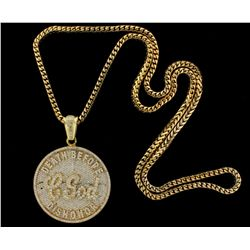 NECKLACE: Mens 14ky pave diamond medallion pendant & chain; 64.92mm (2.55'') OD round shape; ''Death